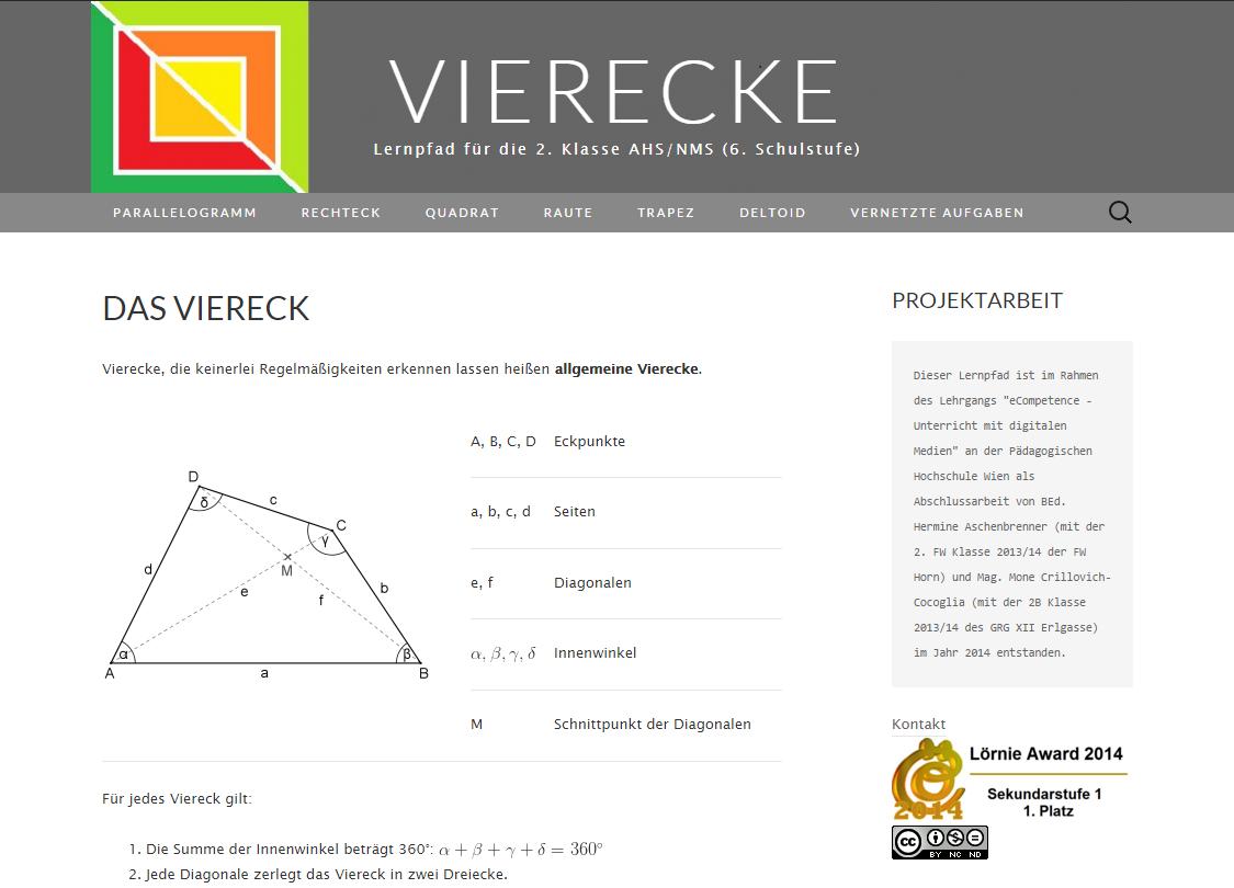Lernpfad VIerecke